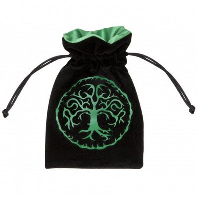 Q-Workshop - Dice Bag - Forest Black & Green Velour Dice Bag - 401 Games