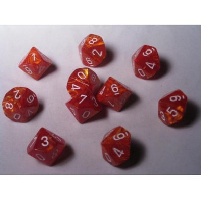 Dice Set - Chessex - 10D10 - Lustrous - Bronze/White - 401 Games