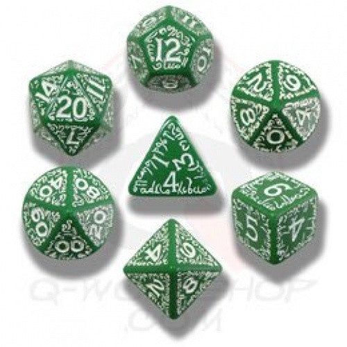 Dice Set - Q-Workshop - 7 Piece Set - Elven - Green and White - 401 Games