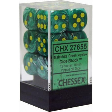 Dice Set - Chessex - 12D6 - Vortex - Malachite Green/Yellow - 401 Games
