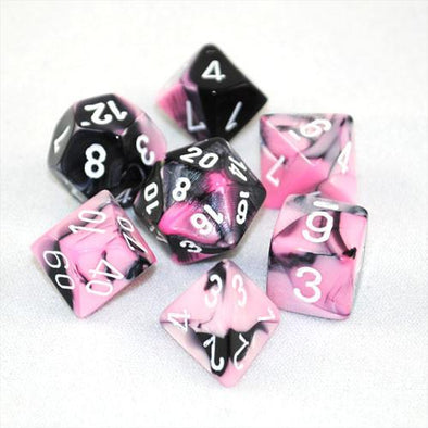 Chessex - 7 Piece Set Gemini - Black-Pink/White available at 401 Games Canada