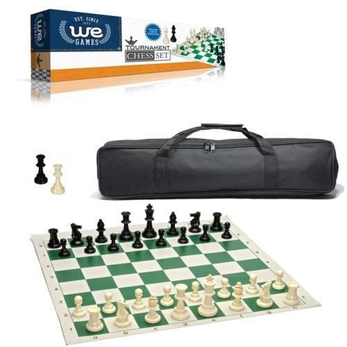 Buy Chess - Tournament Set w/ Canvas Bag (black bag,green board,standard weight) Wood Expressions and more Great Board Games Products at 401 Games