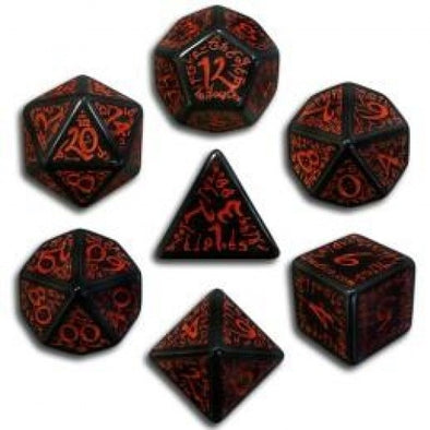Dice Set - Q-Workshop - 7 Piece Set - Runic - Black and Red - 401 Games
