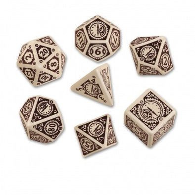 Dice Set - Q-Workshop - 7 Piece Set - Steampunk Clockwork - Beige/Brown - 401 Games