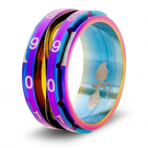 Level Counter Dice Ring - Size 10 - Rainbow available at 401 Games Canada