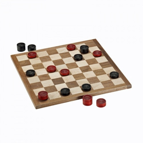 "Checkers - 11.5"" Red & Black Pieces with Solid Wood Board - Wood Expressions"
