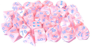 Chessex - 7 Piece - Lab Dice - Lustrous - Pink/Blue