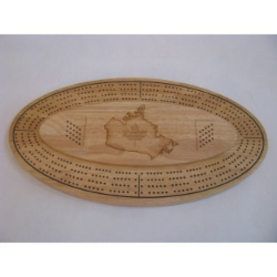 Cribbage - Deluxe 4 tracks board inoval shape, including metal pegs and a deck of playing cards - 401 Games