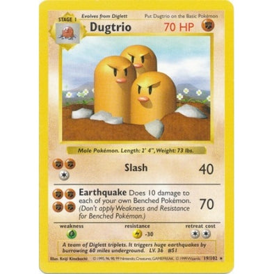 Dugtrio - 19/102 - Shadowless (Shad) - 401 Games