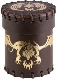 Leather Dice Cup - Brown/Gold Dragon - 401 Games