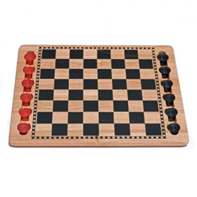 "Checkers - 14"" Solid Wood Checkers Set - Red & Black - Wood Expressions - 401 Games"
