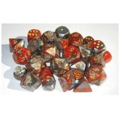 Dice Set - Chessex - 10D10 - Gemini - Orange-Steel/Gold - 401 Games