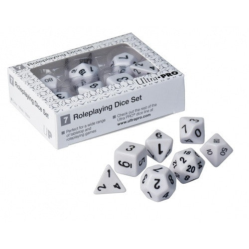 Ultra Pro - Dice Set - 7pc Role-Playing Dice Set White - 401 Games