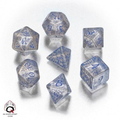 Buy Dice Set - Q-Workshop - 7 Piece Set - Elven - Translucent Blue and more Great Dice Products at 401 Games
