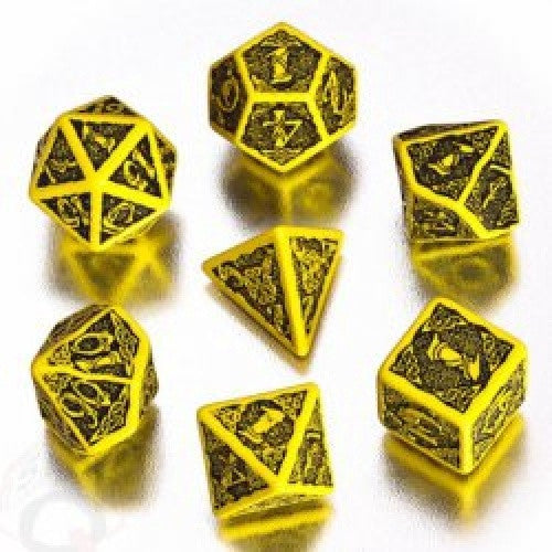 Buy Dice Set - Q-Workshop - 7 Piece Set - Celtic - Yellow and Black and more Great Dice Products at 401 Games
