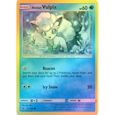 Buy Alolan Vulpix - 21/145 - Reverse Foil and more Great Pokemon Products at 401 Games