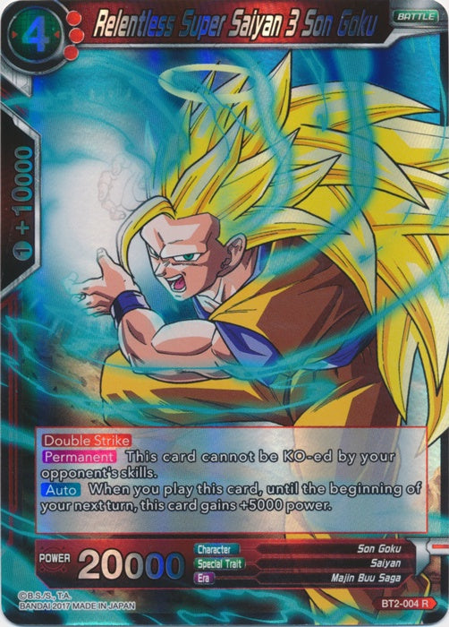 Dragon Ball Super Card Game BT2-004 Relentless Super Saiyan 3 Son Goku