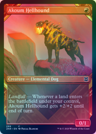Akoum Hellhound - Alternate Art (FOIL) (ZNR) available at 401 Games Canada