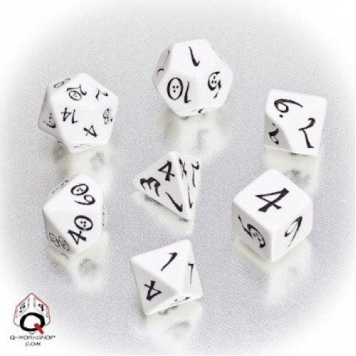 Buy Dice Set - Q-Workshop - 7 Piece Set - Classic Elven - White and Black and more Great Dice Products at 401 Games