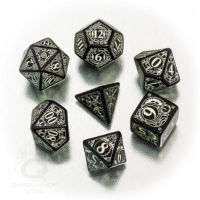 Buy Dice Set - Q-Workshop - 7 Piece Set - Steampunk - Black Glow in the Dark and more Great Dice Products at 401 Games