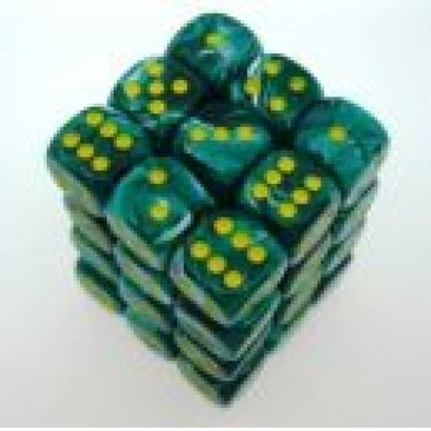 Dice Set - Chessex - 36D6 - Vortex - Malachite Green/Yellow - 401 Games