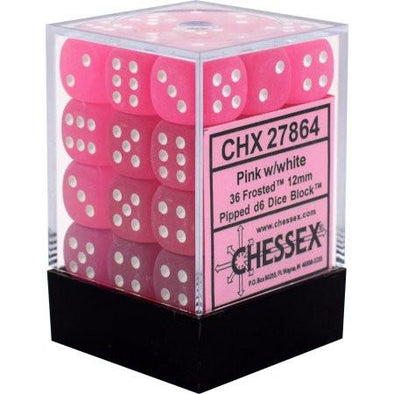 Chessex - 36D6 - Frosted - Pink/White