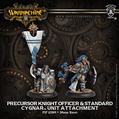 Buy Warmachine - Cygnar - Precursor Knight Officer & Standard Bearer and more Great Tabletop Wargames Products at 401 Games