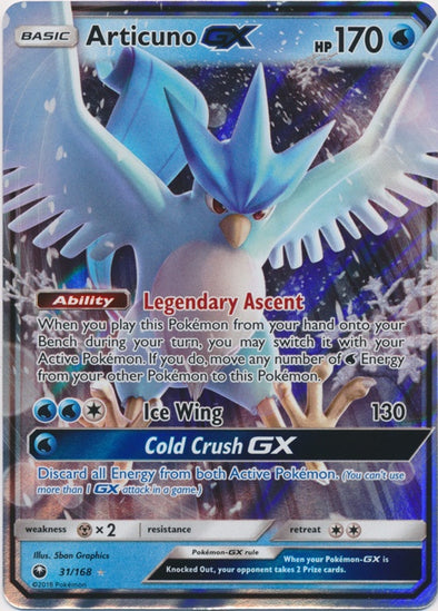 Buy Articuno-GX - 31/168 and more Great Pokemon Products at 401 Games