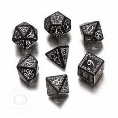 Buy Dice Set - Q-Workshop - 7 Piece Set - Elven - Black and White and more Great Dice Products at 401 Games