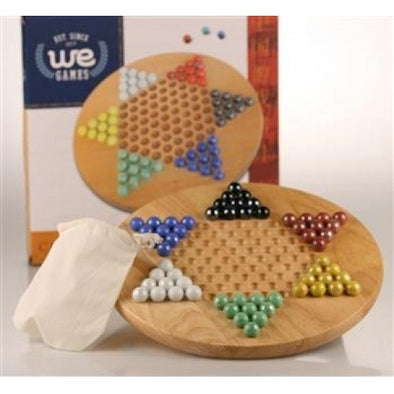"Chinese Checkers - 11.5"" Wood with Marbles - Wood Expressions - 401 Games"