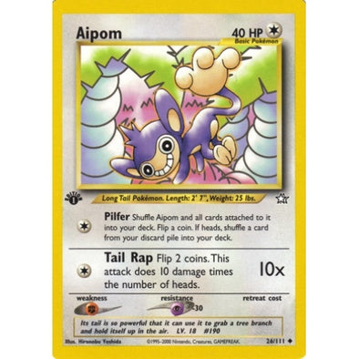 Buy Aipom - 26/111 - 1st Ed and more Great Pokemon Products at 401 Games