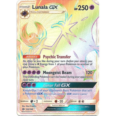 Buy Lunala-GX - 153/149 - Hyper Rare and more Great Pokemon Products at 401 Games