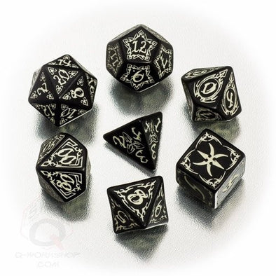 Dice Set - Q-Workshop - 7 Piece Set - Tribal - Glow in the Dark - 401 Games