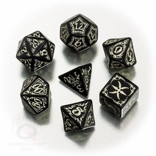 Buy Dice Set - Q-Workshop - 7 Piece Set - Tribal - Glow in the Dark and more Great Dice Products at 401 Games