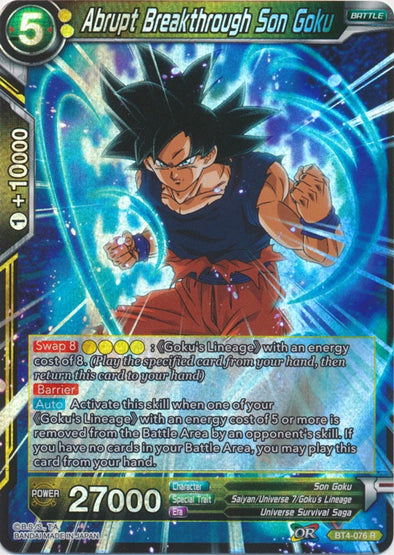 Abrupt Breakthrough Son Goku - (Rare) available at 401 Games Canada