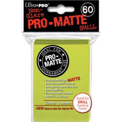 Ultra Pro - Small Card Sleeves 60ct - Pro Matte - Bright Yellow - 401 Games