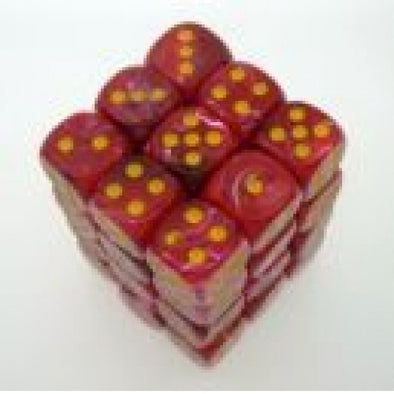 Dice Set - Chessex - 36D6 - Vortex - Red/Yellow - 401 Games