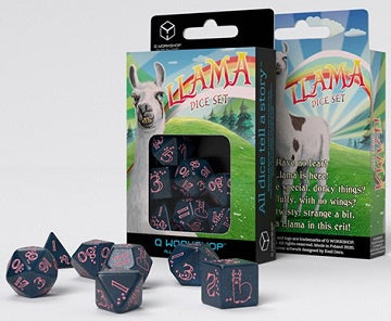 Dice Set - Q-Workshop - 7 Piece Set - Sparkling Llama - Blue/Pink available at 401 Games Canada