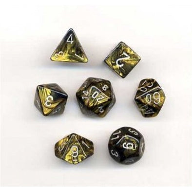 Buy Chessex - 7 Piece - Gemini - Black-Gold/Silver and more Great Dice Products at 401 Games