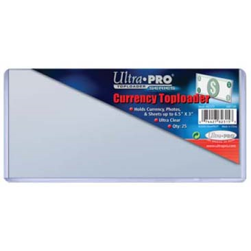 "Ultra Pro - 6.5 x 3"" Currency Toploader - 25ct"