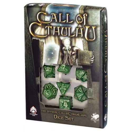 Dice Set - Q-Workshop - 7 Piece Set - Call of Cthulhu - Green Glow in the Dark - 401 Games