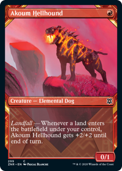 Akoum Hellhound - Alternate Art (ZNR) available at 401 Games Canada
