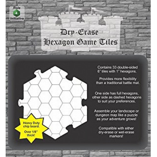 Buy Dry Erase Hexagon Tiles - 6'' Interlocking Tiles (33) and more Great RPG Products at 401 Games