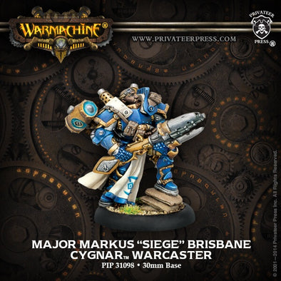 Buy Warmachine - Cygnar - Major Markus 'Siege' Brisbane and more Great Tabletop Wargames Products at 401 Games