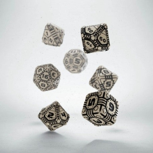 Dice Set - Q-Workshop - 7 Piece Set - Tech Dice - Beige/Black - 401 Games