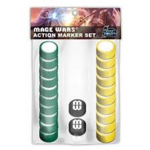 Mage Wars - Action Marker Set (Green & Yellow) - 401 Games