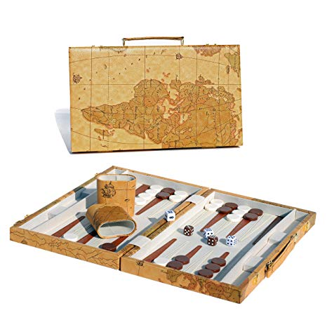 "Backgammon - 15"" Tan Map - Wood Expression - 401 Games"
