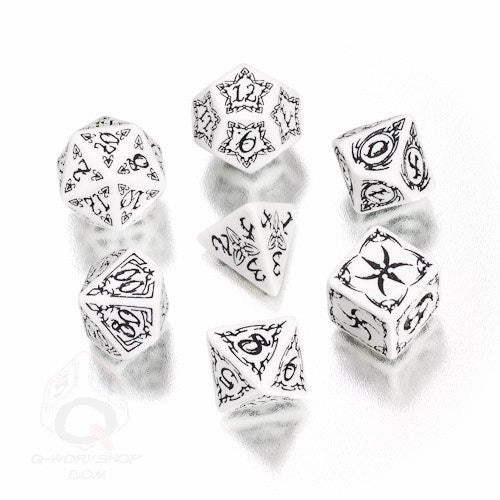 Dice Set - Q-Workshop - 7 Piece Set - Tribal - White and Black - 401 Games