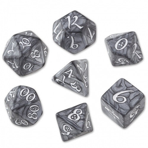 Buy Dice Set - Q-Workshop - 7 Piece Set - Classic Elven - Smoky/White and more Great Dice Products at 401 Games