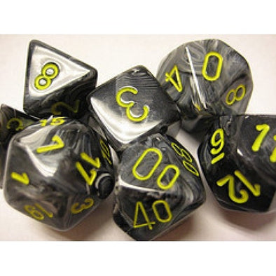 Dice Set - Chessex - 7 Piece - Vortex - Black/Yellow - 401 Games